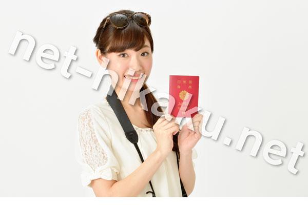 パスポートを指すカメラを持った女性